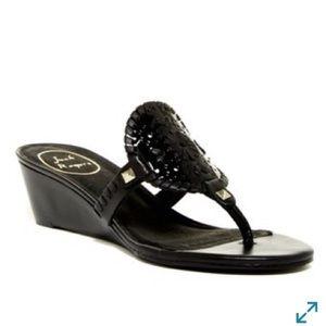 Jack Rogers Devyn Demi Wedge Sandal Black Size 7